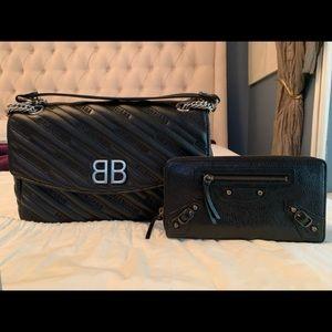 Balenciaga BB Logo Bag Black Leather Bag & Wallet